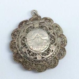 ROMA 800 Silver Filigree Rosary Holder Pendant